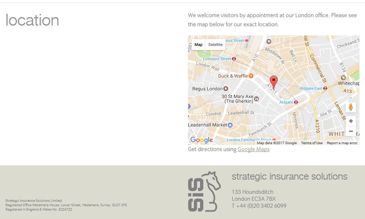 Strategic Insurance Solutions - Screenshot showing page design and site footer