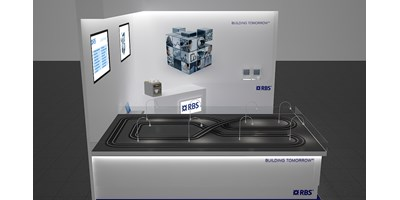 RBS Mannheim Exhibition Stand - Racing Circuit - Final 3D render of model design - Overview