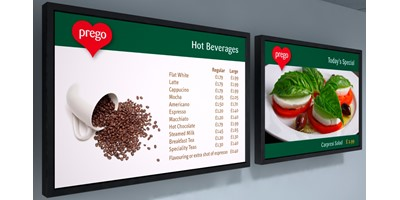 Prego branding - Digital menu boards