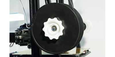 The MendelMax 3 3D printer - The filament spool holder with filament reel installed