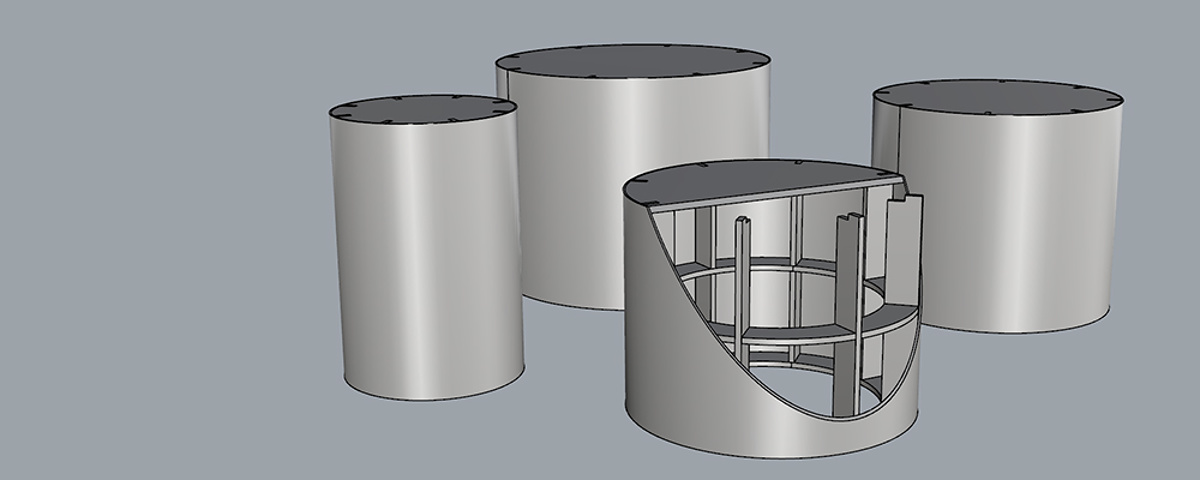 Round Pedestal Manufacture - CAD image showing