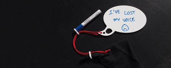 Lost Voice Whiteboard - Speech bubble shape, laser cut in acrylic, with lanyard, drywipe pen and erasing cloth