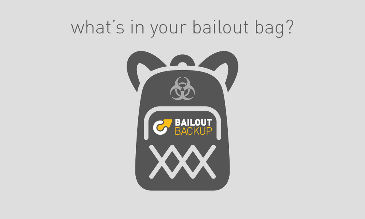 Bailout Backup - One of the graphic panels created to promote the software - a simplified visual of a rucsac and logo with the caption 'What's in your bailout bag?'