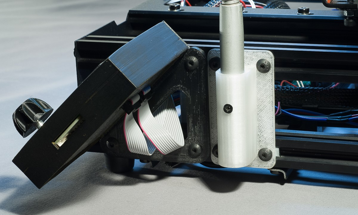 The MendelMax 3 3D printer - The right side of the printer showing the attachment points for the smart controller and LED work lamp