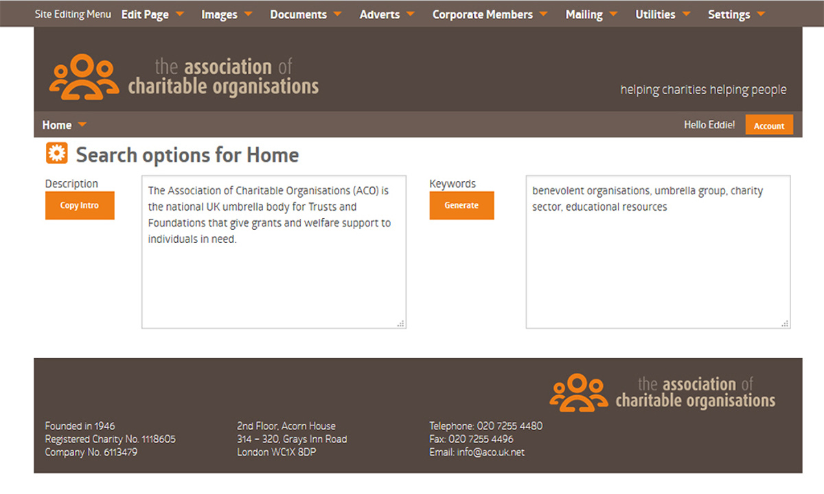 ACO Website - Screenshot of search engine optimisation settings, available for each separate page on the site
