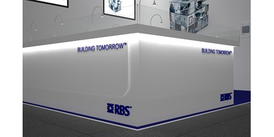 RBS Mannheim Exhibition Stand - Racing Circuit - Final 3D render of plinth detail