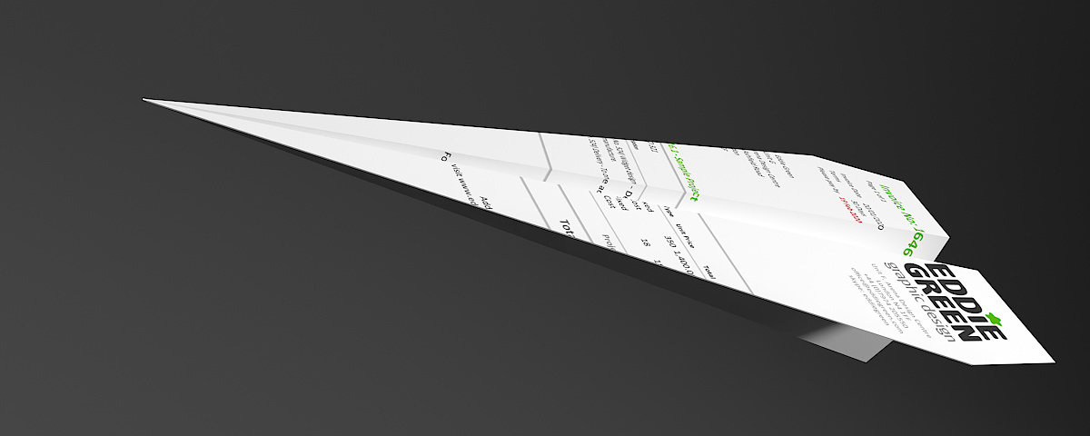 Credit Management - A paper plane made from one of Eddie Green's invoices
