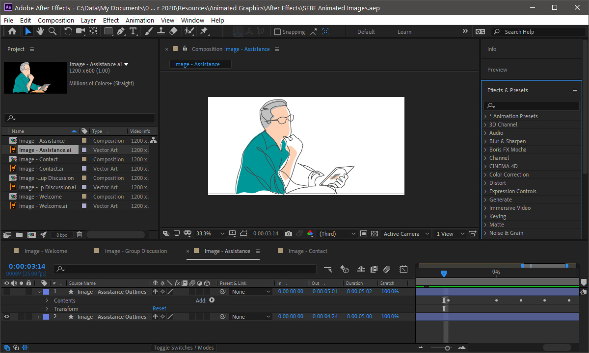 SEBF Website Redesign - Composing the illustration animation effects in Adobe After Effects