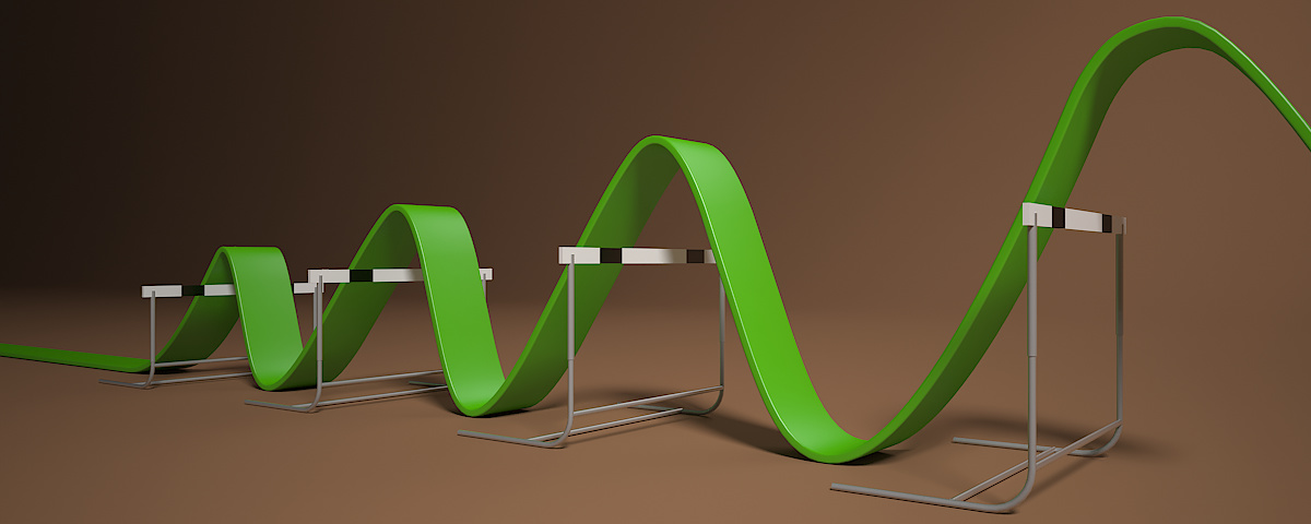 Background Illustration - 3D visualisation showing a line jumping over a series of hurdles of increasing height