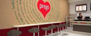 Prego - Cannon Street Store - Closeup view of the feature wall graphic
