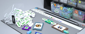 Website programming - Conceptual illustration of web page design showing key technologies used