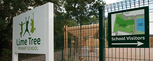 Lime Tree School Signage - Entrance gate sign at completion of works