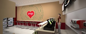 Prego - Cannon Street Store - Internal render of the counter area and feature wall graphic