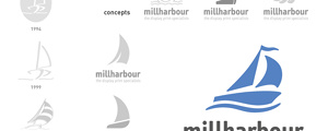 Millharbour Branding - Old versions of logo, new concepts presented to the client and the final logo