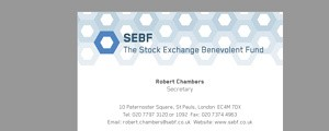 Stock Exchange Benevolent Fund - Design of printed business card